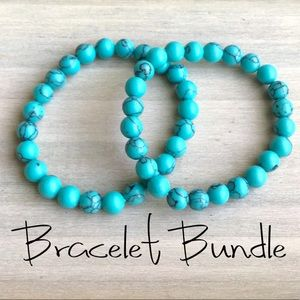 Gemstone turquoise stretch bracelet Bundle Lot new